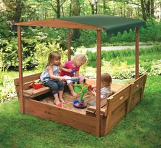 SO CUTE! The little benches fold down to become a cover, to keep animals from doing gross things in the sand. $170 right now.  Badger Basket Convertible Cedar 4' Rectangular Sandbox with Cover & Reviews   Wayfair