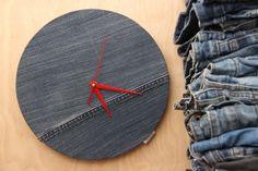 Denim wall clock , upcycled denim handmade clock , Dark denim wall clock , minimalist wall clock , modern wall clock , Jean wall decor by SecondBirthday on Etsy