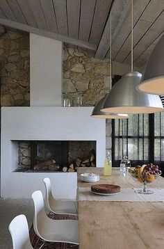 Love the combo of stone & timber. Love the idea of fireplace in kitchen/dining room.