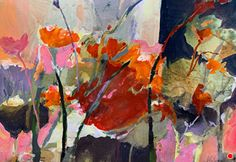 Poppies Abstracted-Botanical by Joan Fullerton, Acrylic, 15 x 22 Rose Oil Painting, Painting Flowers, Art Studio Design, Floral Artwork, Floral Paintings, Abstract Flowers, Abstract Art, Abstract Paintings, Encaustic Art