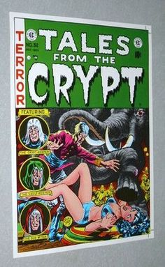 We have MANY original vintage EC Comics comic book cover art posters in our ebay listings (Tales from the Crypt, Vault of Horror, Crypt of Terror, Weird Fantasy, Frontline Combat, Two-Fisted Tales). These EC posters came from the 1970's Russ Cochran Authorized EC Comics portfolio that reproduced 1950's EC cover artwork, with golden age/silver age artists like Harvey Kurtzman, Jack Davis, Graham Ingels, George Evans, John Severin, Bill Elder, Al Feldstein, Jack Kamen, Wally Wood, & Johnny…