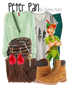 """Peter Pan"" by disney-teen ❤ liked on Polyvore featuring Second, H&M, Chan Luu, Disney, Topshop, Timberland, David Yurman, disney, peterpan and disneybound"