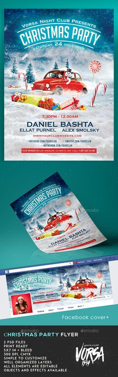 Buy Christmas Party Flyer Template by VORSA on GraphicRiver. 2 PSD files Print Ready in + bleed 300 dpi, cmyk Simple to customize Well organized Layers All elements are edit. Christmas Flyer Template, Christmas Templates, Party Flyer, Party Party, February Baby, Christmas Car, Flyer Printing, My Son Birthday, Christmas Invitations