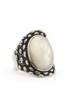 New Directions  Silver-Tone Mother of Pearl Boxed Ring