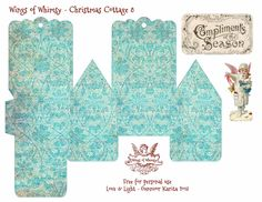 Wings of Whimsy: Vintage Christmas Village - 25 FREE printable sets of DIY Christmas Cottages & Snow Cherubs, and an assortment of matching Christmas Trees Miniature Christmas, Christmas Paper, All Things Christmas, Vintage Christmas, Xmas, Christmas Trees, Christmas Houses, Christmas Decorations, Printable Designs