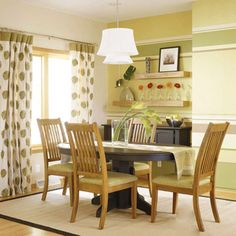 Color Harmony -- green, yellow-green, and yellow. Add a little contrast, such as black furniture Polka Dot Curtains, Color Harmony, Black Furniture, Inspired Homes, Home Staging, House Colors, Sweet Home, Room Decor, House Design