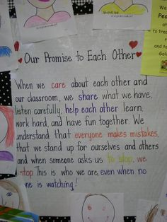 """Debbie Miller- """"Reading With Meaning"""" This is our classroom promise in Grade One! I love the """"This is who we are, even when no one is watching. Classroom Posters, Classroom Activities, Classroom Procedures, Classroom Ideas, Beginning Of The School Year, First Day Of School, Class Pledge, Classroom Promise, Class Motto"""