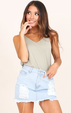 Showpo Draw Me In top in khaki - 12 (L) Sleeveless Trendy Summer Outfits, Summer Fashion Outfits, Casual Outfits, Denim Skirt Outfits, Denim Dresses, Denim Skirts, Denim Overalls, Girls In Mini Skirts, Trendy Swimwear
