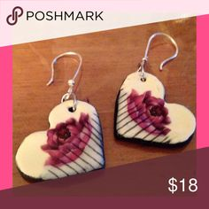 "Ceramic Rose Heart Earrings 1 1/2"" long ceramic hearts with hand painted  pinkish-purple roses hang from stainless steel ear hooks. Jewelry Earrings"