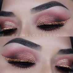 Burgundy and Bronze Smokey Eye + Gold Glitter Eye Liner