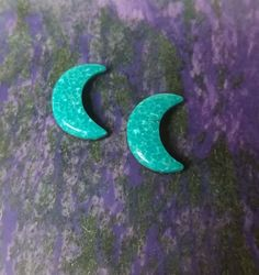 Blue Green Turquoise Crescent Moon Cabochon Pair/ backed / Sonora Mexico by…