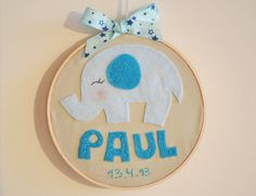 Personalized Embroidered Hoop Art Elephant Name and by TheMemis, $35.00
