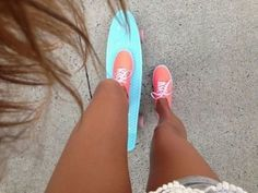 Coral vans and blue penny board so pretty!
