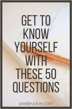50 Questions to Answer to Discover Who You Are and What You Want Want to get to know yourself a little bit better? Finding out who you really are will help you identify your life's purpose so you can fulfill your dreams and goals. Here are 50 questions to Self Development, Personal Development, Know Yourself Quotes, Finding Yourself Quotes, Improve Yourself Quotes, Self Improvement Tips, Self Care Routine, Self Discovery, Life Purpose
