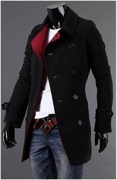 Men's Double Breasted Slim Fitting Wool Coat with Red Collar.- casual look Look Fashion, Winter Fashion, Mens Fashion, Fashion Trends, Fashion Coat, Fashion Dresses, Sharp Dressed Man, Well Dressed Men, Mode Masculine