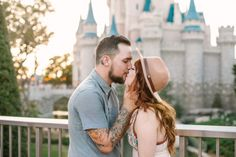Disney Engagement Photos - Photography - Walt Disney World Couple - Pictures at Cinderella Castle Magic Kingdom - Florida Photographer - Rachel Branham Photography -