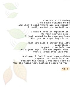 29: Leaving ~b.a. Undying Love, To Tell, You And I, Appreciation, Things I Want, Poems, Sayings, Tu Y Yo, Lyrics
