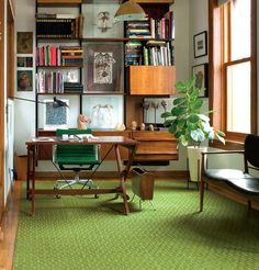 office with fiddle leaf fig plant