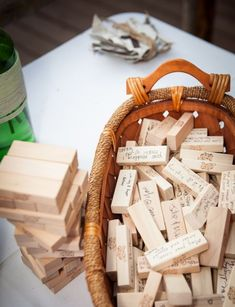 "Wedding Reception Do you LOVE Jenga? Then make the game pieces apart of the wedding ""guest book""! - Looking for unconventional wedding ideas? Check out Wedpics articles on unique ideas for your special day. Browse now! Wedding Signs, Diy Wedding, Trendy Wedding, Wedding Book, Wedding Table, Wedding Unique, Wedding Advice, Fall Wedding, Wedding Souvenir"