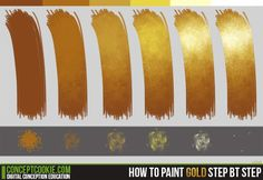 How to paint gold tutorial by ConceptCookie on deviantART