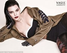 So chic: It was clear to how Kendall Jenner has landed so many Vogue spreads as she showed off her phenomenal figure in a strapless black basque with a white trim for the German edition