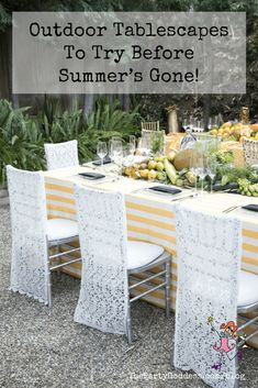 The table is set! The Party Goddess!, LA's best full service event planner who makes any party ridiculously fab, shares 6 colorful outdoor tablescapes! Affordable Home Decor, Easy Home Decor, Cheap Home Decor, Chair Back Covers, Reception Table Decorations, Outdoor Furniture Sets, Outdoor Decor, Outdoor Living, Event Decor