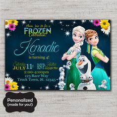 Frozen,Frozen invitation,Elsa and Anna,Frozen invite,Printed invites,Frozen Party,MLM64