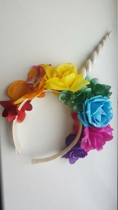 Rainbow Unicorn Flower Crown by withloveterri on Etsy