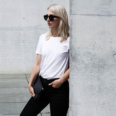 Get this look: http://lb.nu/look/8277283  More looks by Leonie // www.noanoir.com: http://lb.nu/noanoir  Items in this look:  Ace & Tate Oversized Black Sunglasses, Cos Basic White Tee, Eleven Black Leather Mini Bag   #classic #minimal #monochromatic #chic #blackandwhite #babouche #slides #slipons #golden