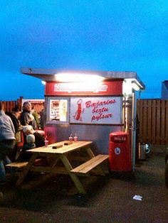 "Bæjarins Beztu Pylsur, which translates to the ""best hot dog stand in town""."