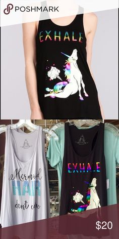 🆕 Unicorn yoga magical tank 🦄✨ Adorable Inhale Exhale unicorn metallic print tank with scoop neck made of the most softest stretchy material :) ASOS Tops Tank Tops