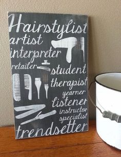 """HAIRSTYLIST Hand Painted Wood Sign (12x18"""")"""