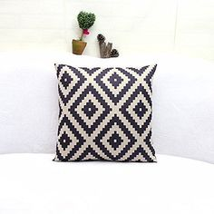 CoverProof European Classic Style Cotton Linen Square Throw Pillow Case Decorative Cushion Cover Geometric Abstraction Home Decor Throw Pillow Cushion Case 18Inches 18Inches ** Check out this great product.