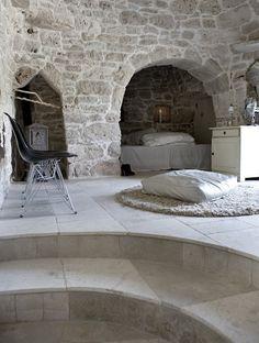 rock bedroom cave; cozy nook