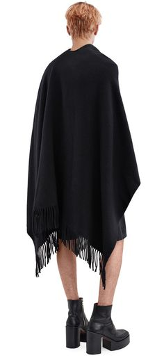 Acne Studios Apolo Fringe Black Fringed poncho