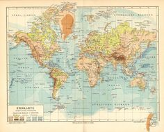 1903 Original Antique Relief Map of the World in Mercator Projection