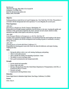 Driver Resume Objective Delectable Pinmas Sant On Resume Template  Pinterest  Template