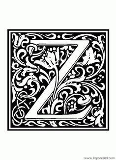 Coloriage Lettre Z : coloriages Lettrine