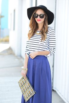 striped top and blue gaucho pants via M Loves M @marmar