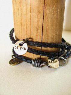 Wrapped Leather Bracelet with Charms by stephaniedistler on Etsy, $68.00