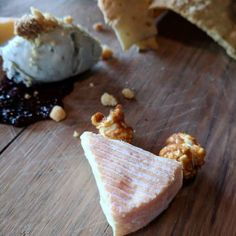 Three artisan cheese. Earthy Echo Mountain blue cheese (with poached pear); bold and meaty Alpha Tolman (with cashew butter); whipped feta and goat's cheese blend (with Mission fig jam.)