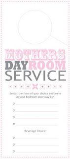 Room Service Door Hanger {Mothers Day Printable Menu}