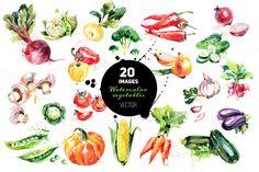 20 Watercolor Vegetables Vector by Elena Pimonova on Creative Market