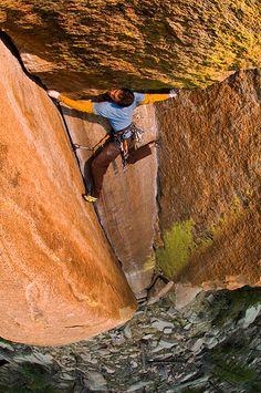 Brian Rhodes on Turkey Creek Dihedral 5.14b, Colorado. amazing.