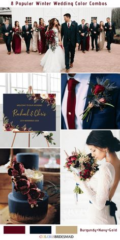 8 Winter Wedding Color Combos for 2018 - Burgundy, Navy and Gold Planning for a white wedding in winter? The 8 romantic winter wedding color combos for your snowy wedding. You will be inspired. Burgundy Wedding Colors, Winter Wedding Colors, December Wedding Colors, Burgundy Color, Burgundy Tie, Fall Wedding Themes, Gold And Burgundy Wedding, Navy Gold, Wedding Colours