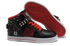 DC Skateboard Black Red Metallic Silver Rivet [DC Skateboard Black Red Metallic Silver Rivet] - $77.00 : Cheap Supra Shoes For Sale Online
