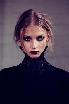 Dark lips 52495151883470406 - Anna Selezneva Gets Gothic in For Love & Lemons Fall 2013 Ads Dark Beauty, Beauty Make-up, Beauty Ideas, Beauty Skin, High Fashion Makeup, Ad Fashion, Trendy Fashion, Witch Fashion, Paper Fashion