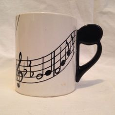 Music Mug Staff & Notes Coffee Cup Shafford Original 1970's
