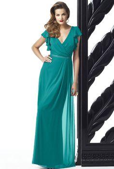 Dessy. Style 2874 flutter sleeve chiffon bridesmaid dress in jade, $264, Dessy available at Weddington Way
