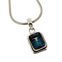 Mystic Topaz Sterling Silver Necklace Pendant Jewelry Purple Green Gemstone #YouniqueJewelry #Pendant